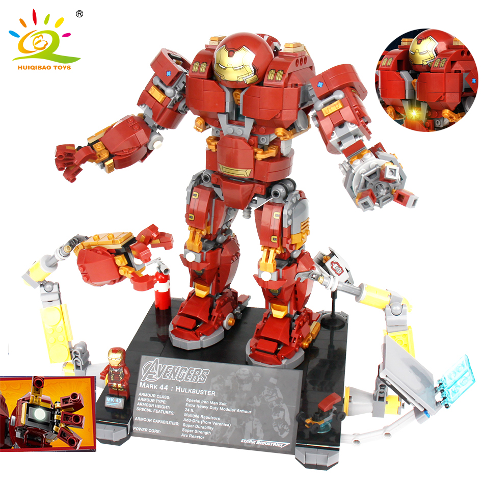 1530+pcs Avengers Hulk Buster Building Blocks Compatible Legoed Marvel Super Hero Iron Man Figure Hulkbusters Toys For Children 2017 hot compatible legoinglys marvel super hero avengers iron man mk series building blocks deformation armor brick toys gift