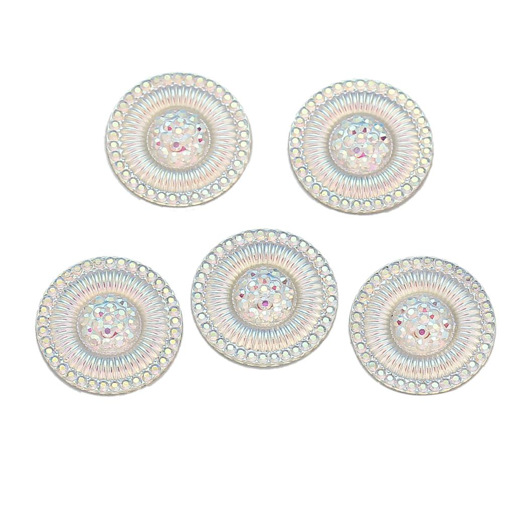 DoreenBeads Resin Embellishments Findings Round White AB Color 20mm(6/8)Dia,30 PCs 2015 new
