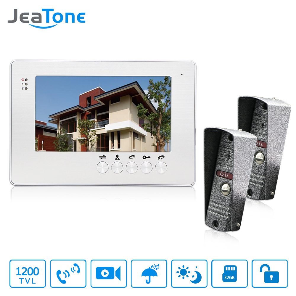 JeaTone Home Security 7 inch TFT LCD Monitor Video Door phone Intercom System With Night Vision Outdoor Camera 1200TVL 7 inch color tft lcd wired video door phone home doorbell intercom camera system with 1 camera 1 monitor support night vision