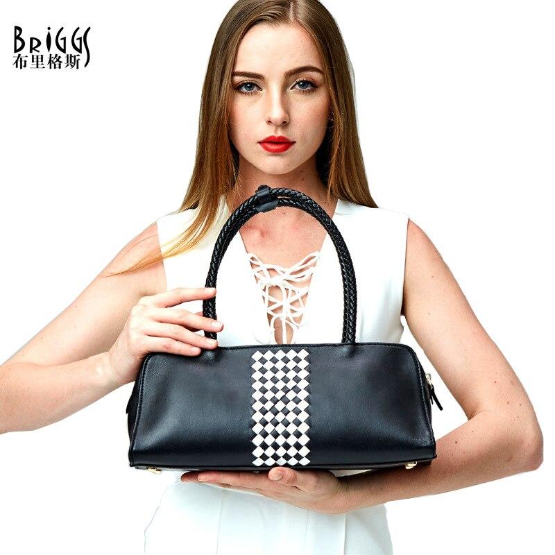 BRIGGS Brand Luxury Handbags Women Bag Genuine Cow Leather Women Messenger Bag Handbags Famous Designer Weave Women Handbags
