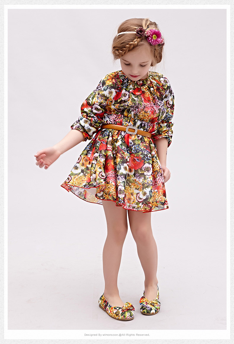 Princess Dress for Girls Clothes Character Printed Robe Fillette Costumes for Children Clothing 2017 Brand Girls Dresses Kids 3 new girls dress brand summer clothes ice cream print costumes sleeveless kids clothing cute children vest dress princess dress