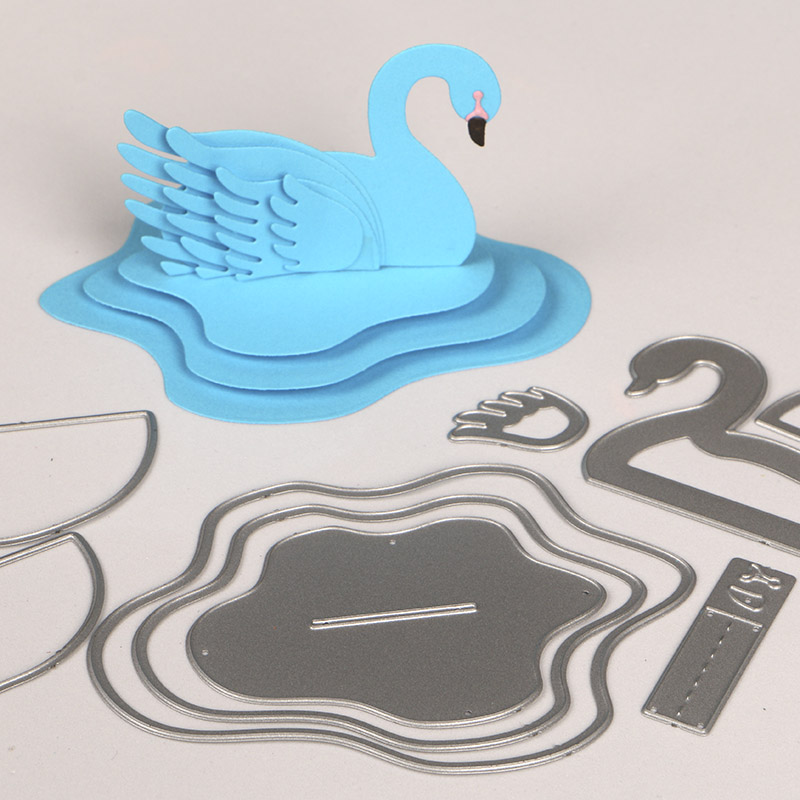 DUOFEN METAL CUTTING DIES 050296 3D Swan set for DIY papercraft project Scrapbook Paper Album greeting card in Cutting Dies from Home Garden