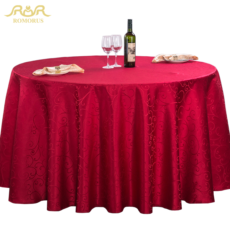 ROMORUS Polyester Round Table Cloths Wedding Tablecloths Dining Coffee Party  Hotel Solid Quality Table Cover Machine Washable