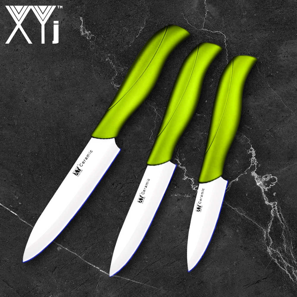 XYJ Brand Multi-Purpose Ceramic Knife Holder And 3 Inch 4 Inch 5 Inch Kitchen Knife Set+ A Green Handle Peeler New Cooking Tools