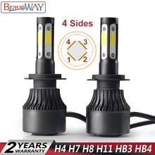 BraveWay 4 стороны световой H4 H7 H8 H9 H11 9005 COB 72 W 16000LM 6500 K авто фары H11 Светодиодный лампочки H7 светодиодный лампы HB3 светодиодный лампы