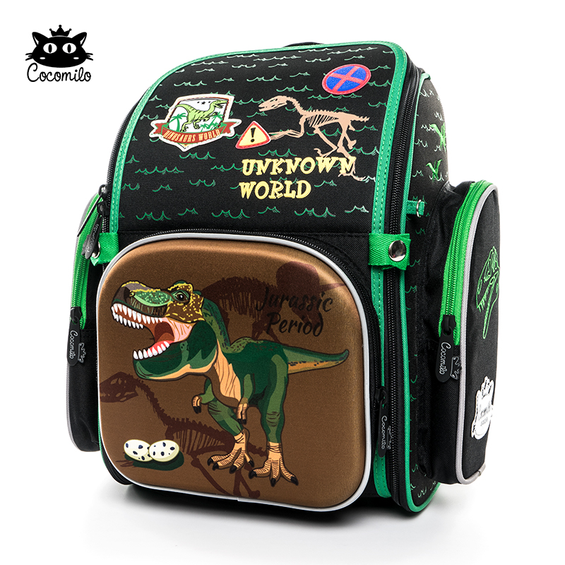 все цены на Cocomilo Brand Children 3D Cartoon School Backpack Girls 1-3 Grade Orthopedic Dinosaur School bag for Kids Boys Mochila Infantil онлайн