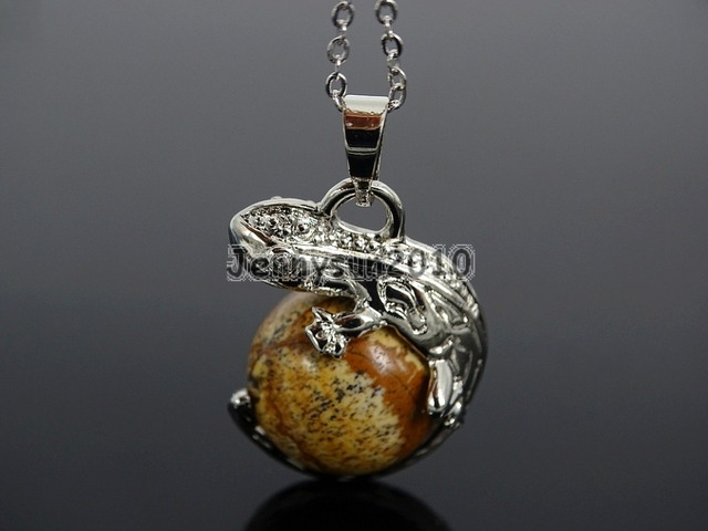 Natural Picture Jas-per Gem Stone Round Ball Chakra Lizard Pendant Necklace  Beads Healing Jewelry 7b0d7a6516dc