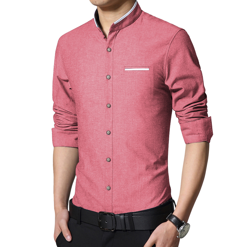 2018 new brand men s casual shirt long sleeve banded collar easy