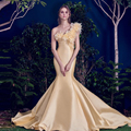 Charming Yellow Sexy Mermaid Evening Dresses With Flower Evening Gowns Vestidos De Boda Long Lidies Formal Dress 2016 New