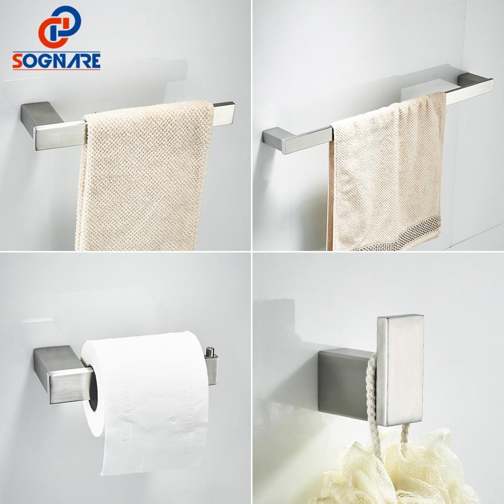 SOGNARE 304 Stainless Steel Bathroom Accessories Set Single Towel Bar,Robe hook,Paper Holder ,4pcs/set Black Bath Hardware Sets ...