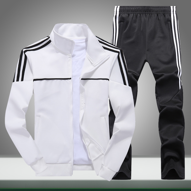 Autumn New Men Tracksuit Casual Solid Striped Zipper Sets Two Pieces Jackets + Pants 2019 Male Sportswear Sporting Suits Outwear