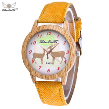 2017 Zhoulianfa Christmas Wome Girls Elk Pattern Wood Grain Denim Band Analog Quartz Vogue Watches relogio feminino