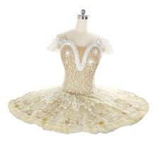 Beige Professional Ballet Tutu Costume Adult Performance Platter tutu Women Nutcracker Fairy Doll Classical Pancake
