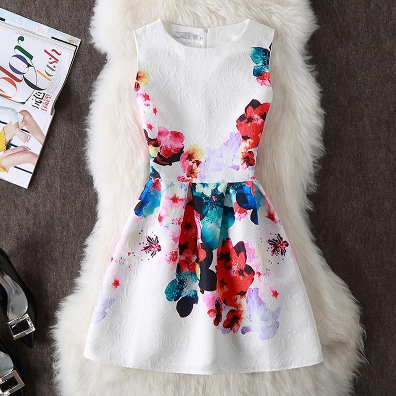 Summer Dress Women 2018 Vinage Casual Sleeveless A-line Short Dress Print Floral Elegant Party Dress Plus Size 5XL vestidos
