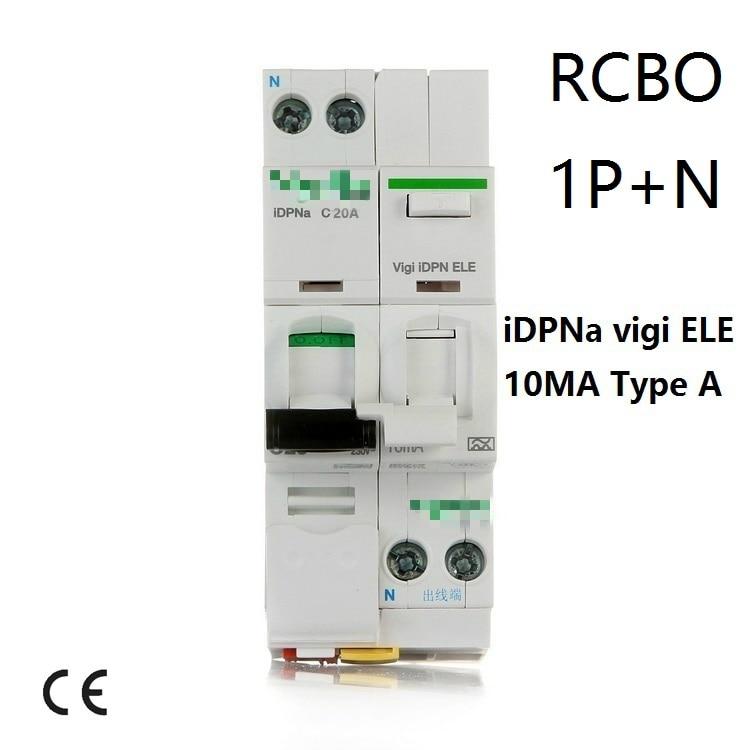 10MA iDPN vigi DPNL ELE Acti 9 40A Type A 0.01A 6A 10A 16A 20A 25A 32A RCBO Disjoncteurs à courant Résiduel DPNL 1 P + N CE