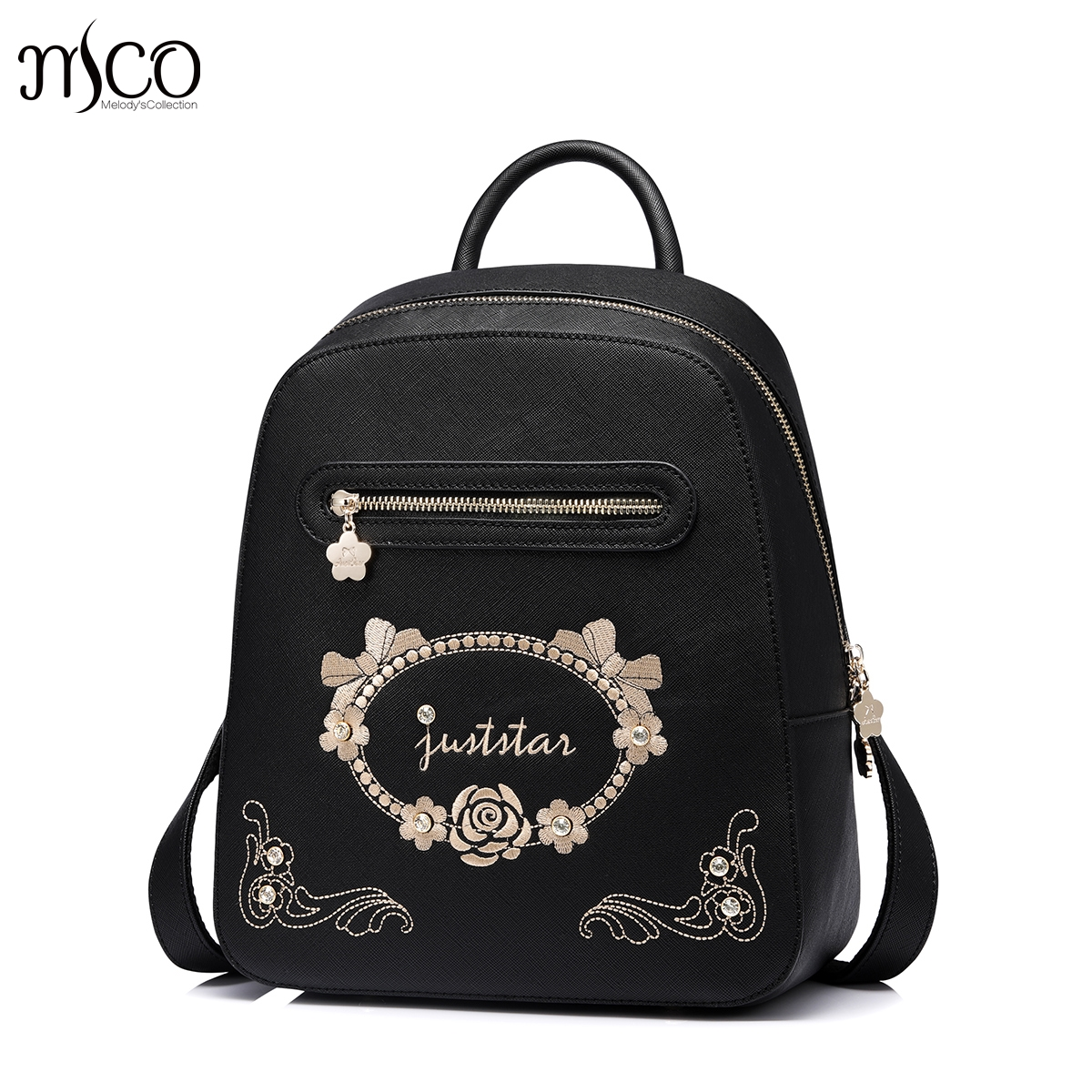 Fashion Embroidery Girl Backpacks Cute School Bags New Women Backpack PU Leather Female Shoulder Bag mochilas mujer 2017