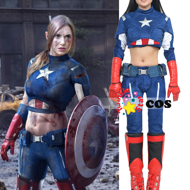 Awesome Halloween Costumes For Adult Women Justice League Superhero Sexy Captain  America Cosplay Costume Captain America Women