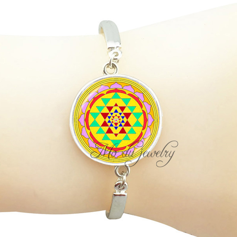 US $6 73 25% OFF Sacred geometry Sri yantra bracelet om mandala flower  bangle India jewelry spiritual Yoga bracelets for women pulseira  feminina-in