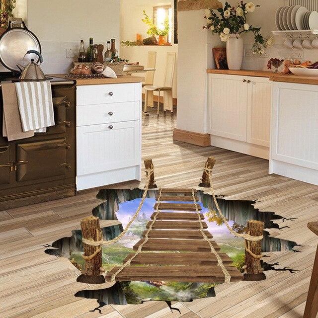 US $1.9  3D di legno ponte levatoio deserto paesaggio pavimento adesivi  uomini salone camera da letto della decorazione della casa impermeabile ...