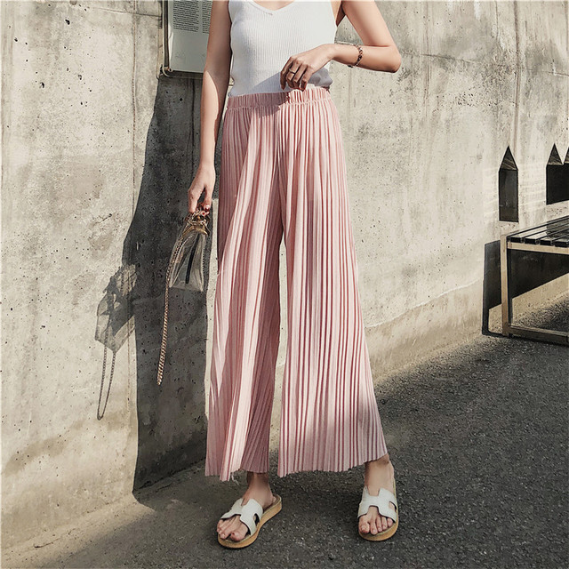 2019 Season High Waist Pleated Chiffon Leg Pants Woman Summer Nine Points Student Hong Kong Flavor Easy