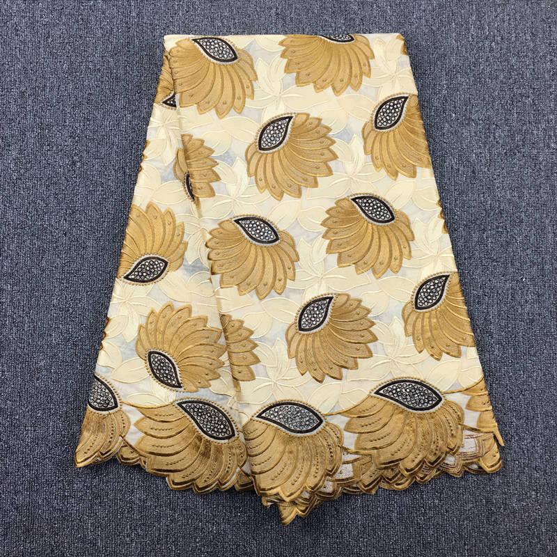 Ev ve Bahçe'ten Dantel'de Afrika vual dantel % 100% pamuklu kumaş yüksek kaliteli tekstil malzeme kumaş ağır Bej Altın ve Kahve 056'da  Grup 1