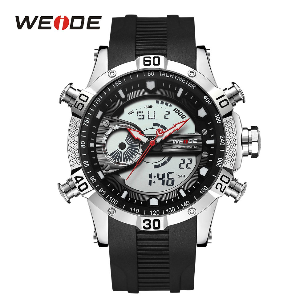WEIDE Men Watch Sport Digital Stopwatch Male Clock Date Quartz Backlight Alarm Day Analog Display Rubber Band Black Wristwatch weide men black running outdoor date day repeater back light stopwatch sports quartz watch alarm clock strap military wristwatch