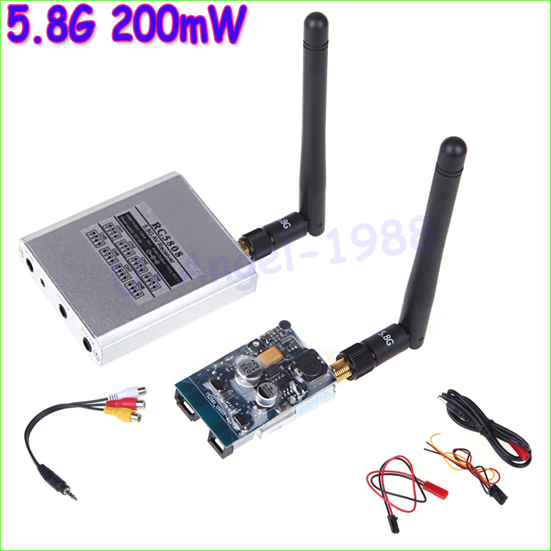 5.8G 200mW FPV Video Audio 8CH AV Transmitter TX 5.8GHz RX Receiver Set 2KM 2000M for RC Plane Quadcopter +free shipping quadcopter fpv 5 8g 200mw camera av audio video transmitter integrated new digital 5 8 ghz transmitter fpv a676