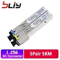 5 pair/lot SC 5KM GBIC 1.25G SFP module switch Ethernet fiber optic transceiver compatible with TP link/Mikrotik/Cisco