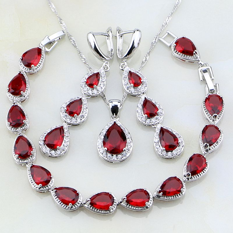 Water Drop Red Zirconia White CZ 925 Sterling Silver Jewelry Sets For Women Party Earrings Pendant