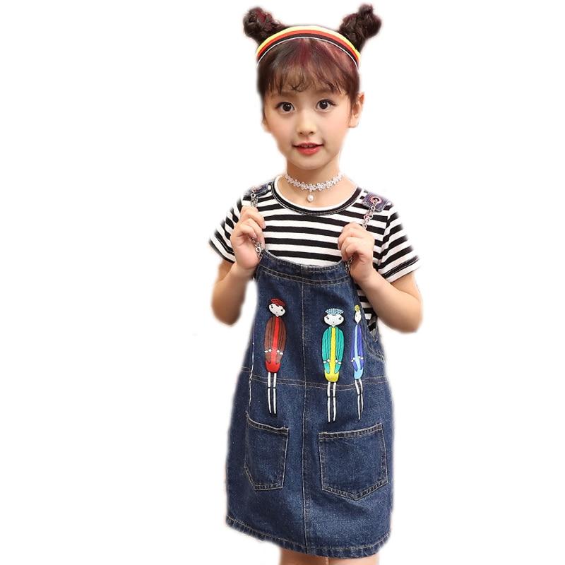 Girls Clothing Sets Summer Kids Clothing Short Sleeve Black Striped T-shirt+Cartoon Printed Denim Strap Dress 2pcs Kids Clothes