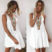 Sexy Womens Summer Dress Casual V Neck Sleeveless Floral Print Short Mini Dress New Bandage Party Club Dresses Arrival 2019 white random floral print v neck sleeveless mini dress