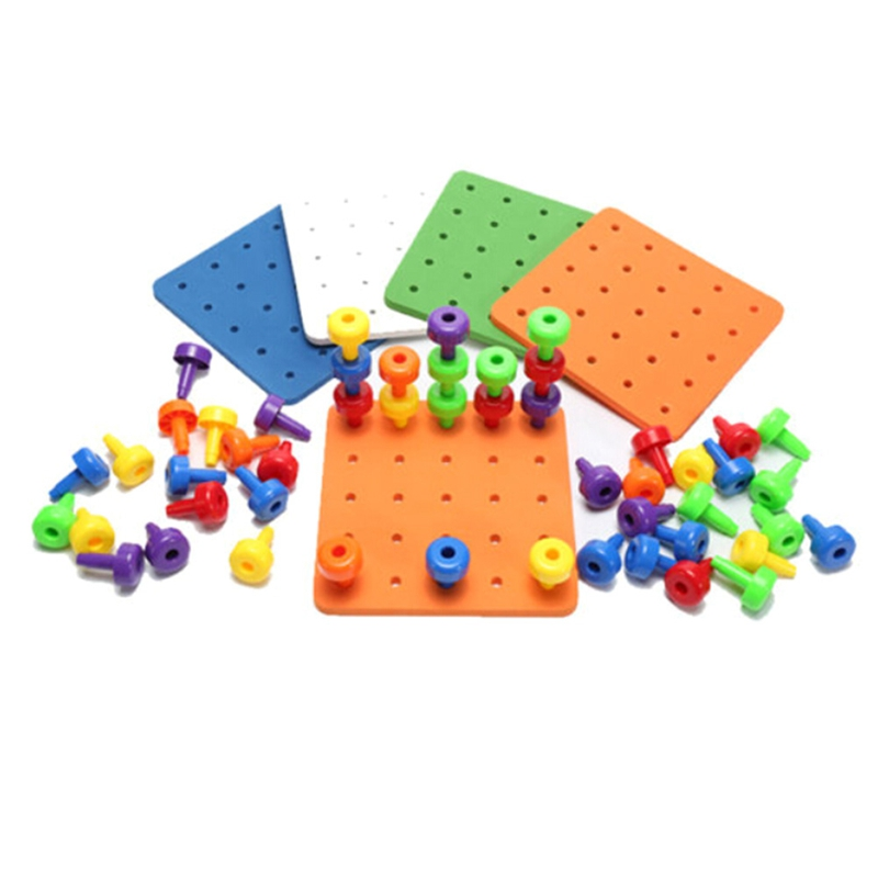 2018 Baby Toys Montessori Children Puzzle Peg Board  Mushroom Nails Kids Educational Jigsaw Toys Gifts