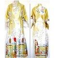 Бесплатная поставка Золота Китайских женщин Silk Район Одеяние Кимоно Ванна Платье Ночная Рубашка Размер Sml XL XXL XXXL W2S004