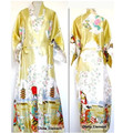 Free Shipping Gold Chinese Women's Silk Rayon Robe Kimono Bath Gown Nightgown Size S M L XL XXL XXXL W2S004