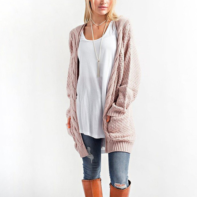 a732d3f233 Winter Coat Casual Long Knitted Cardigan Autumn Korean Women Loose Solid  Color Pocket Design Crochet Sweater