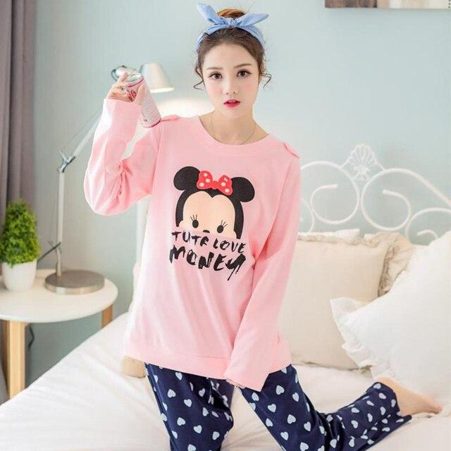 ee61e3f994 Todo En Uno Pijamas Mujeres Otoño 100% Algodón 21 Estilos Pijama Pijama de  Dormir Para
