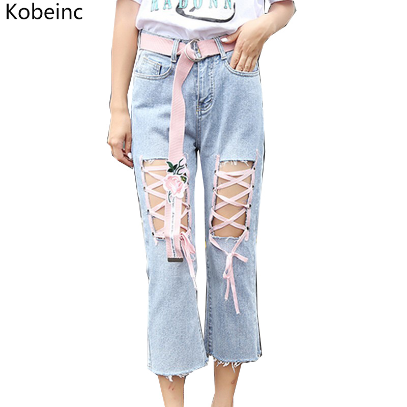 Kobeinc Fashion Lacing Women Jeans Summer Hole Vaqueros Mujer Slim Ankle-length Female Denim Pants Without Sashes High Waist fashion brand women jeans high waisted denim jeans ripped trousers washed vintage big hole ankle length skinny vaqueros mujer