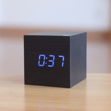 Wooden LED Alarm Clock Cube Model