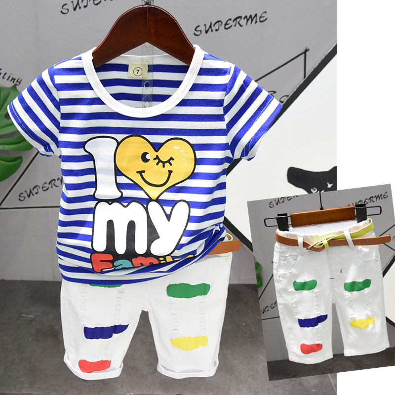 New Arrived Blue Striped Toddler Baby Boys T-shirt Clothing Set Kids Boy Clothes Summer White Shorts Casual Shredded Pants 2019