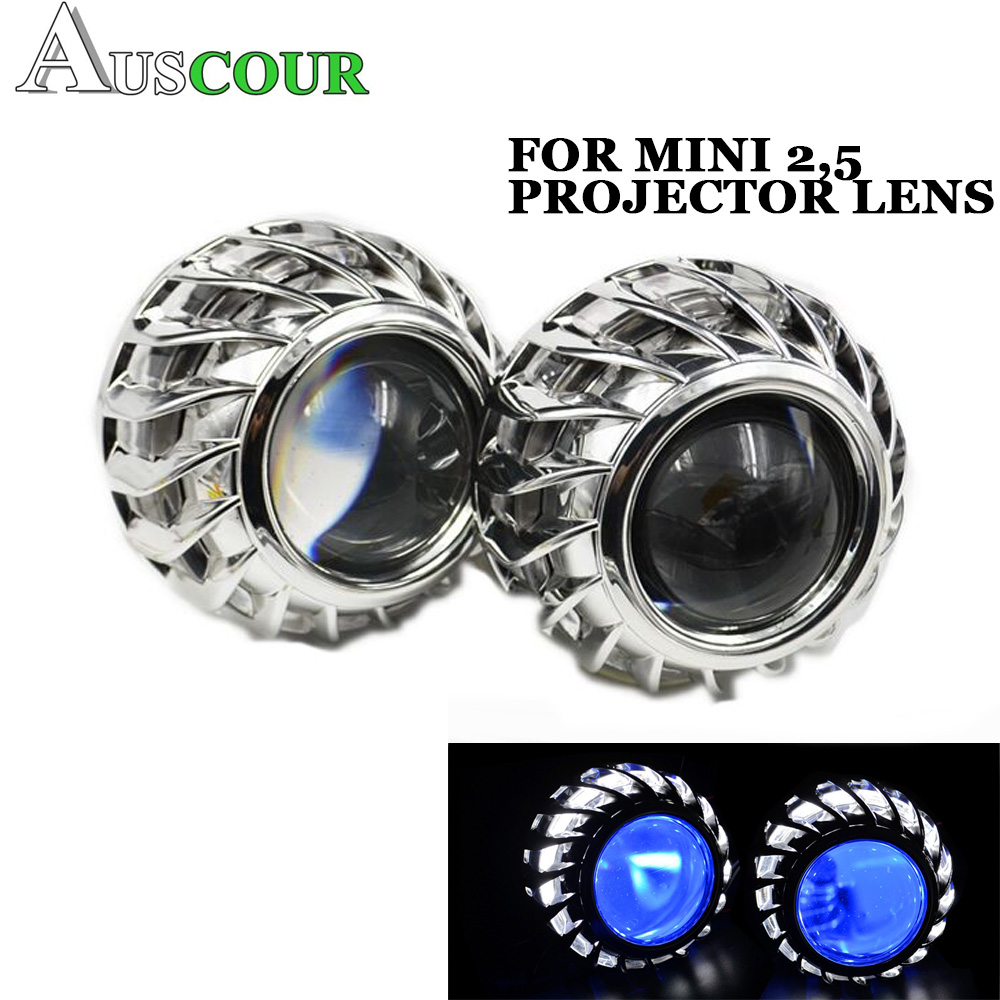 2pcs 2.5 inch DRL Shrouds Angel Eyes Led Day Running Angel Eyes White Car Bi Xenon Hid Xenon Kit Hid Projector Lens Headlight brand new superb led cob angel eyes hid lamp projector lens foglights for toyota ez 2011 2014