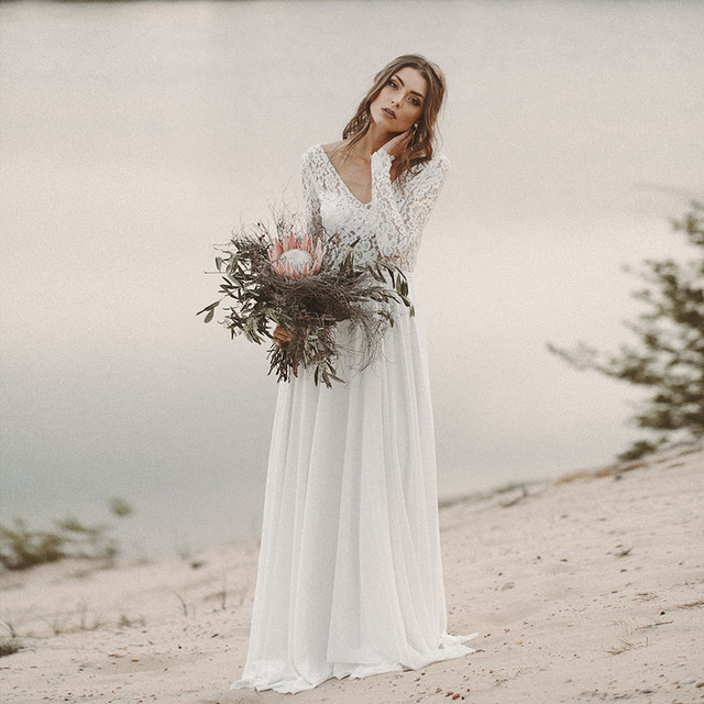 Boho Beach Wedding Dress Long Sleeve A line Vintage Unique Lace Open Back Hippie Style Chic