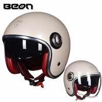 BEON Official store Casco Motorcycle Helmet Vintage Moto Helmet Open Face Capacete E-Biker Retro Scooter Helmet Double Visor
