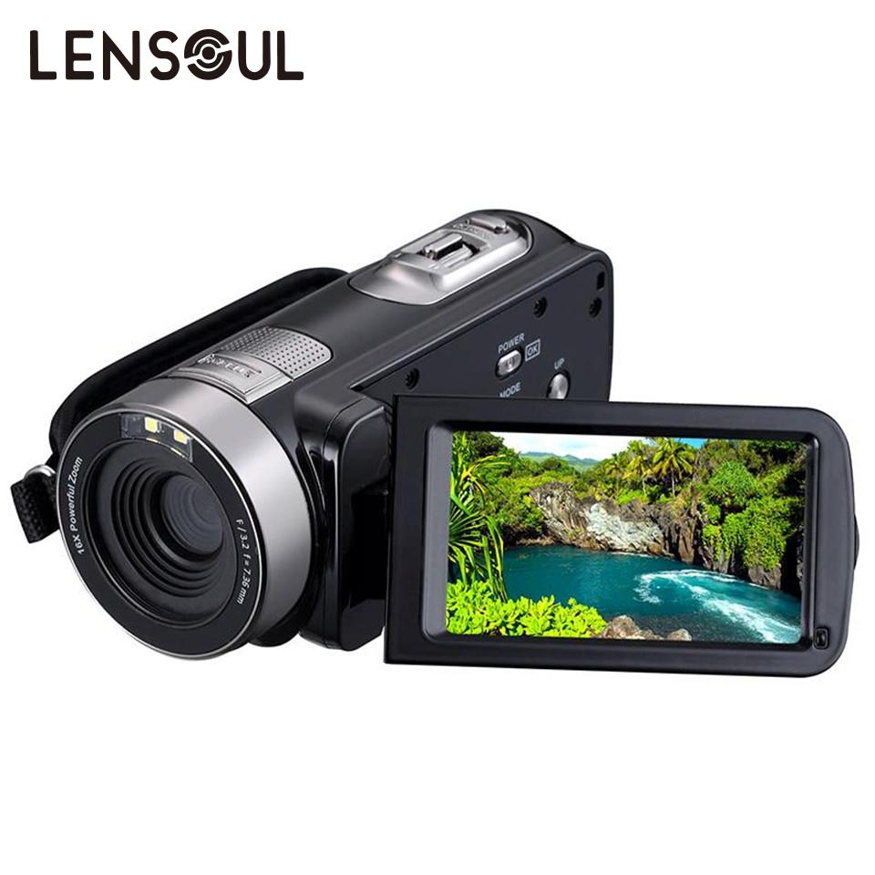 lensoul 1080P HD Digital Camera Recorder Camcorder 3.0 Inch TFT LCD Touch Screen 16x Zoom Video Camera 5 MP CMOS sensor teer h800 1 6 tft display screen 120 wide angle hd 2 0mp cmos 1080p hfd camcorder black silver