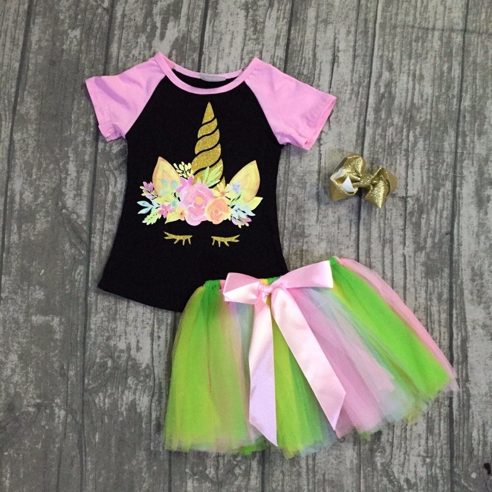 new arrival baby girls summer clothing children unicorn top with skirts outfits sets baby girls summer unicorn clothes with bows 2018 new fashion summer girls children clothing sets sleeveless t shirt red tank top vest skirts 2psc girls clothes suits