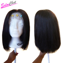 13X4 Lace Front Human Hair Wigs Solonchat Short Remy Hair Wigs For Black Women Indian Natural Color Full Bob Lace Front Wig