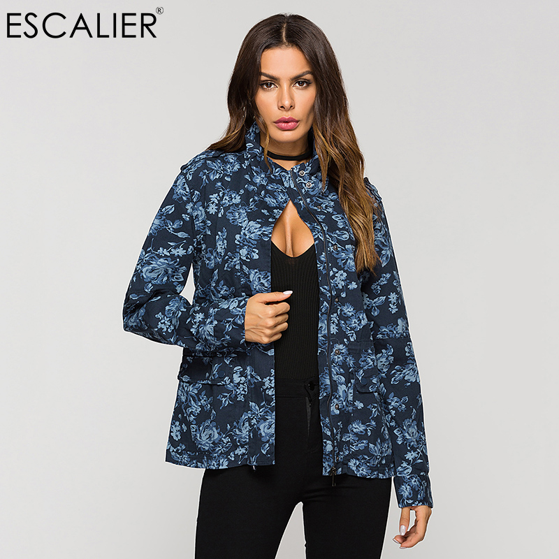 ESCALIER Autumn Women 100% Cotton   Basic     Jacket   Blue Printed Zip Drawstring Casual Short   Jacket   Cuff hollow design Coats