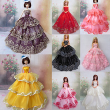 Toy Barbie-Doll Cloth Long-Dress for Girl's Gift 8pcs Outfits-Accessories Lace Satin