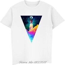 Geometry Triangle T Shirts Men Hip Hop Rocket Take Off Printed Tshirt White  Short Sleeve Casual 4e2119573e27