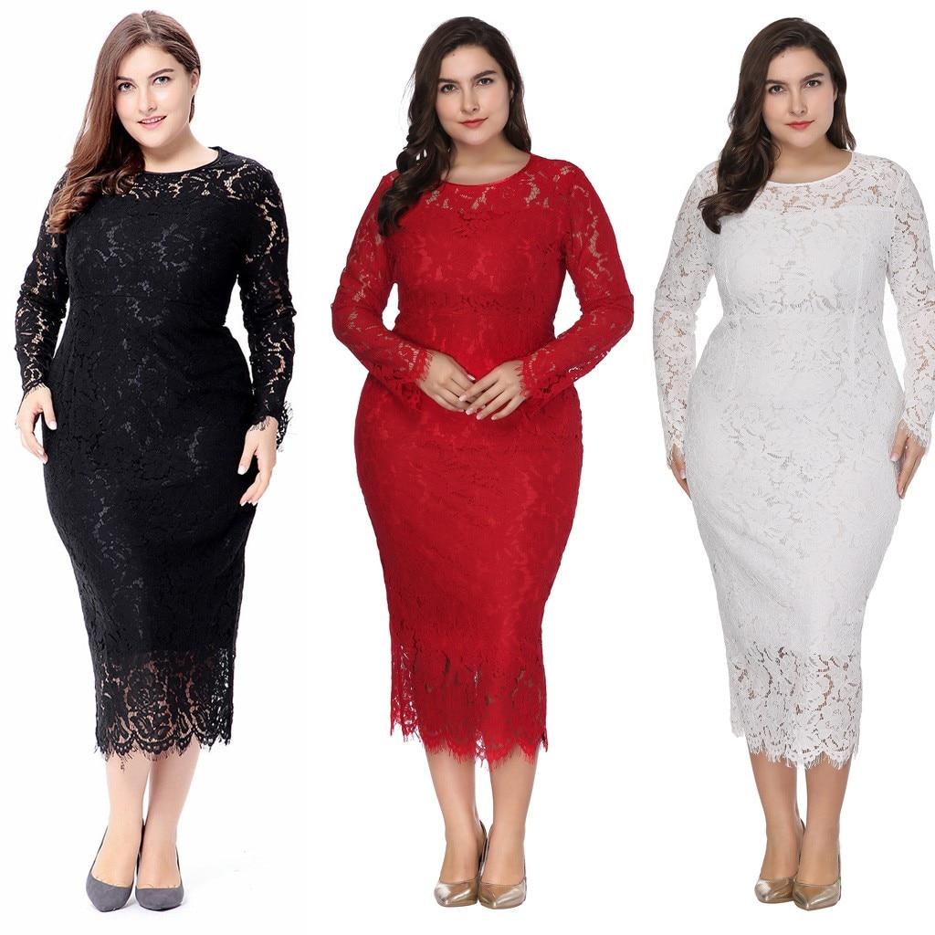 Vintage Lace Plus Size Woman Dress Autumn Winter Ladies -9271