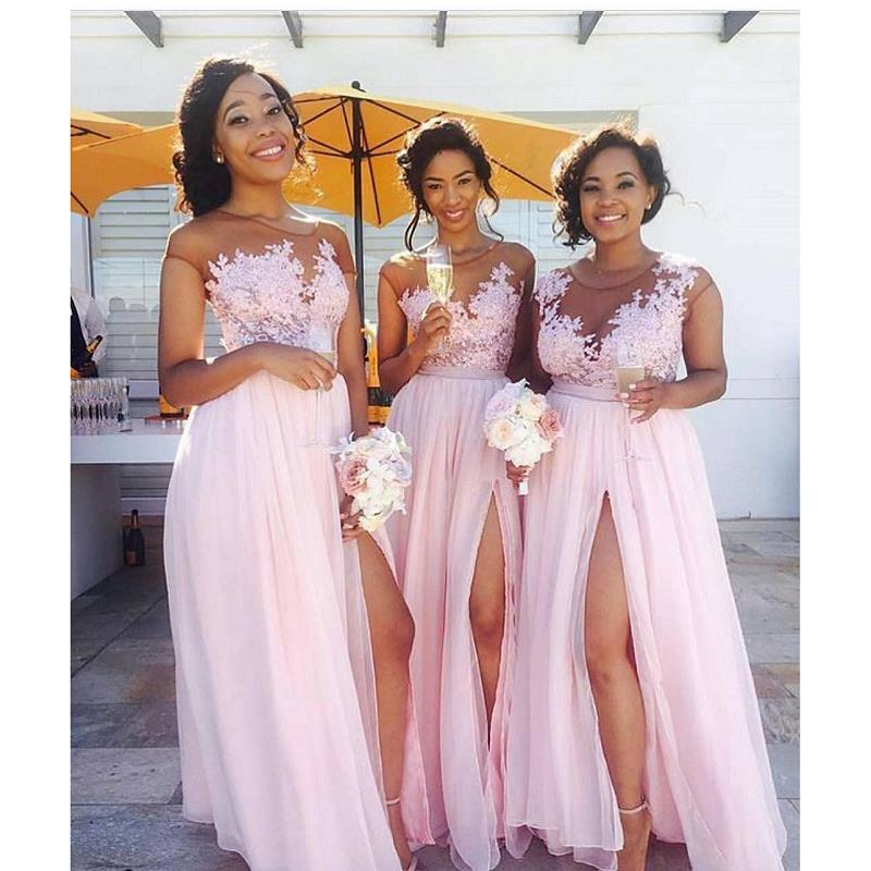 Pink Wedding Dresses 2019: Blush Pink African Bridesmaid Dress 2019 Robe Demoiselle D